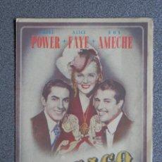 Cine: PROGRAMA CINE DOBLE: CHICAGO, TYRONE POWER, ALICE FAYE, DON AMECHE. Lote 149338857