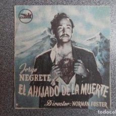 Cine: PROGRAMA CINE DOBLE: EL AHIJADO DE LA MUERTE, JORGE NEGRETE, NORMAN FOSTER. Lote 149339017
