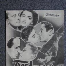 Foglietti di film di film antichi di cinema: PROGRAMA CINE DOBLE: TRES AMORES, KIRK DOUGLAS, LESLIE CARON, PIER ANGELI. Lote 149339449