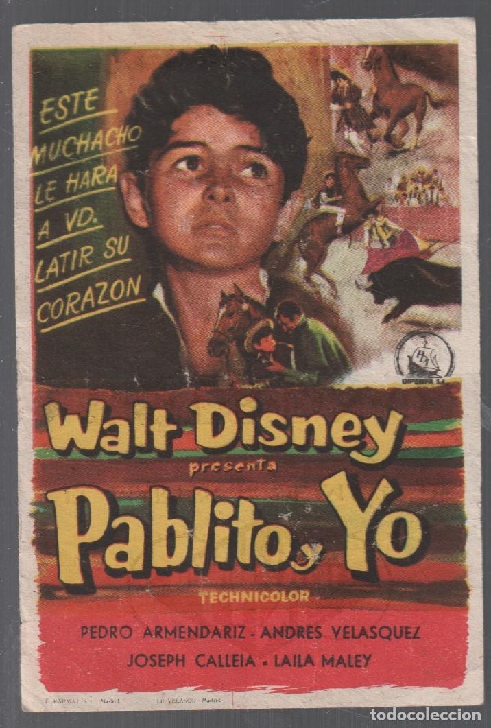 PABLITO Y YO, PEDRO ARMENDARIZ, DISNEY / PROGRAMA SENCILLO CON PUBLICIDAD RF-2133 (Cine - Folletos de Mano - Infantil)