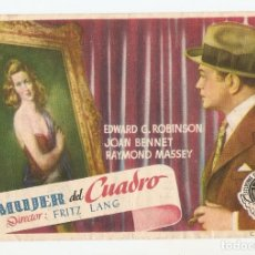 Flyers Publicitaires de films Anciens: LA MUJER DEL CUADRO - EDWARD G ROBINSON, JOAN BENNET, RAYMOND MASSEY - DIRECTOR FRITZ LANG. Lote 149445042