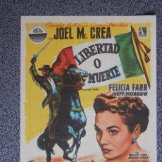 Foglietti di film di film antichi di cinema: PROGRAMA DE CINE: LIBERTAD O MUERTE TEATRO IRIS ZARAGOZA. Lote 149771424
