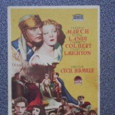 Flyers Publicitaires de films Anciens: PROGRAMA DE CINE: EL SIGNO DE LA CRUZ F. MARCH E. LANDI. Lote 149771476