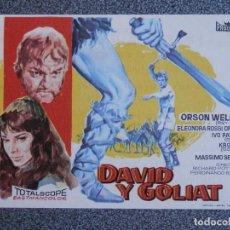 Flyers Publicitaires de films Anciens: PROGRAMA DE CINE: DAVID Y GOLIAT CINE DORADO ZARAGOZA. Lote 149772382