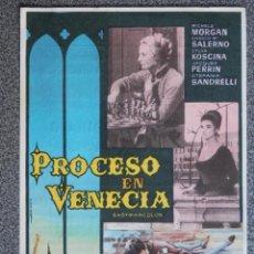 Flyers Publicitaires de films Anciens: PROGRAMA DE CINE: PROCESO EN VENECIA - MICHELE MORGAN - ENRICO SALERNO. Lote 149772740