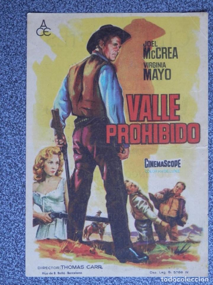 PROGRAMA DE CINE: VALLE PROHIBIDO - BARBASTRO HUESCA (Cine - Folletos de Mano - Acción)