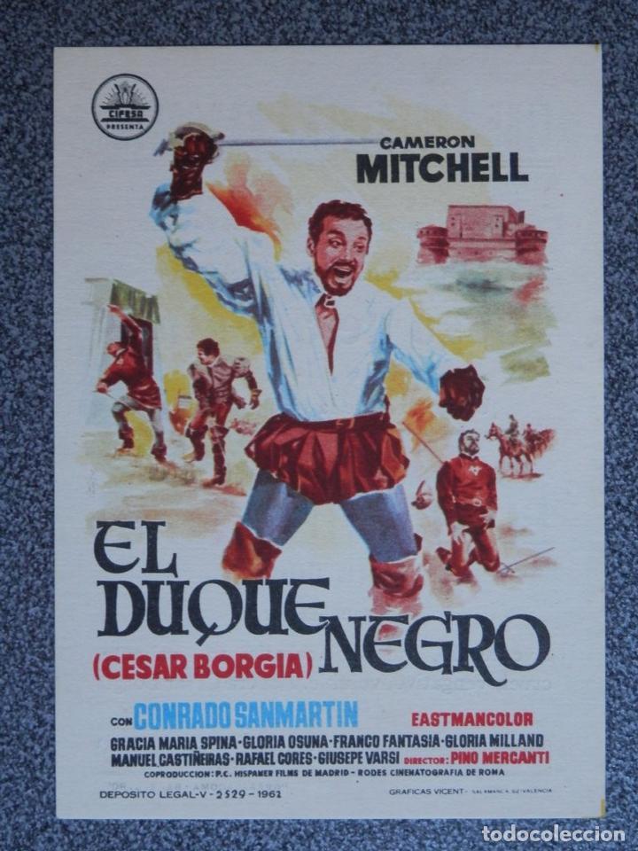 PROGRAMA DE CINE: EL DUQUE NEGRO - BARBASTRO HUESCA (Cine - Folletos de Mano - Acción)