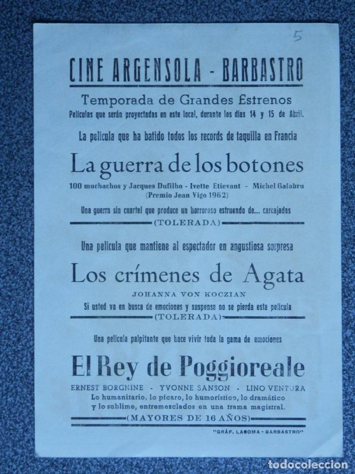 Cine: PROGRAMA DE CINE: EL REY DE POGGIOREALE - BARBASTRO HUESCA - Foto 2 - 149772854