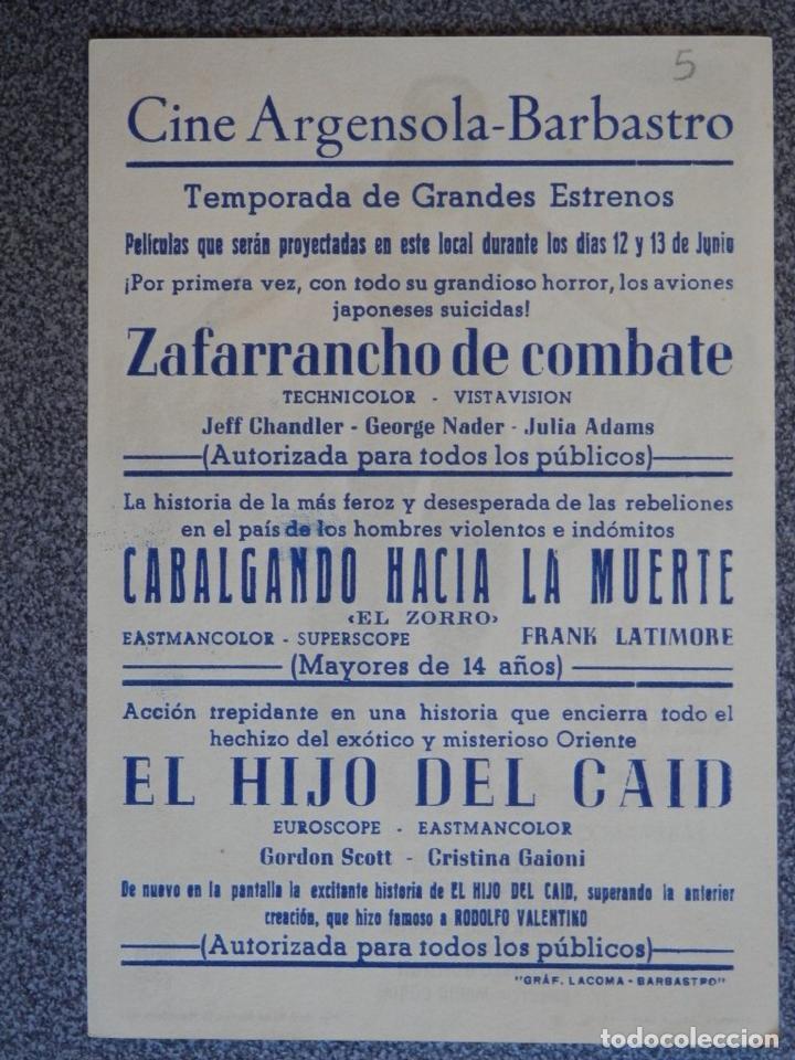 Cine: PROGRAMA DE CINE: EL HIJO DEL CAID - BARBASTRO HUESCA - Foto 2 - 149772862