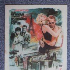 Flyers Publicitaires de films Anciens: PROGRAMA DE CINE: UN DÍA VOLVERÉ - PAUL NEWMAN - JOANNE WOODWARD- SIDNEY POITIER. Lote 149773133