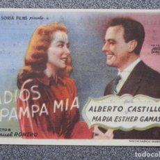 Cine: PROGRAMA DE CINE: ADIOS PAMPA MIA - ALBERTO CASTILLO CON PUBLICIDAD. Lote 149773413