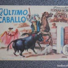 Cine: PROGRAMA DE CINE: EL ULTIMO CABALLO CINEMA ALHAMBRA ZARAGOZA. Lote 149773573