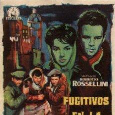 Cine: PROGRAMA CINE: FUGITIVOS EN LA NOCHE, ROBERTO ROSSELLINI, LEO GENN. Lote 149830082