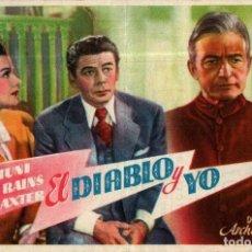 Cine: PROGRAMA CINE: EL DIABLO Y YO, PAUL MUNI, CLAUDE RAINS, ANNE BAXTER, CON SORTEO. Lote 149830162
