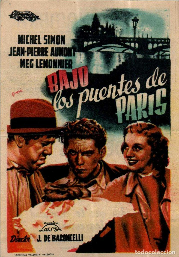PROGRAMA CINE: BAJO LOS PUENTES DE PARÍS, MICHEL SIMON, JEAN PIERRE AUMONT (Cine - Folletos de Mano - Acción)