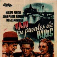 Cine: PROGRAMA CINE: BAJO LOS PUENTES DE PARÍS, MICHEL SIMON, JEAN PIERRE AUMONT. Lote 149830174
