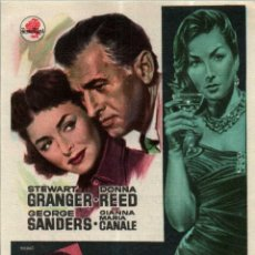 Cine: PROGRAMA CINE: TODA LA VERDAD, STEWART GRANGER, DONNA REED, GEORGE SANDERS. Lote 149830238
