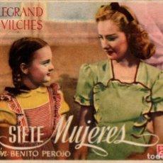 Cine: PROGRAMA CINE: SIETE MUJERES, SILVIA LEGRAND, ERNESTO VILCHES. Lote 149830274