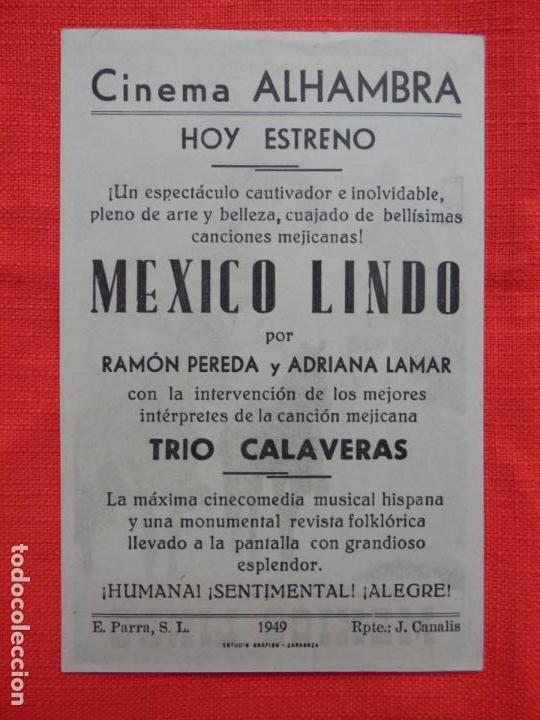 Cine: mexico lindo, impecable sencillo, ramon pereda, con publi cine alhambra - Foto 2 - 149850434