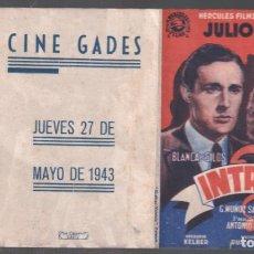 Cine: INTRIGA- PROGRAMA DOBLE DE HERCULES FILMS CON PUBLICIDAD AL DORSO, RF-87. Lote 149960814
