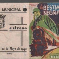Cine: LA BESTIA NEGRA - PROGRAMA DOBLE DE REY SORIA FILMS CON PUBLICIDAD AL DORSO,RF-97. Lote 150056554