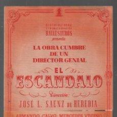 Cine: EL ESCANDALO - PROGRAMA DOBLE DE BALLESTEROS CON PUBLICIDAD AL DORSO, RF-118. Lote 150066154