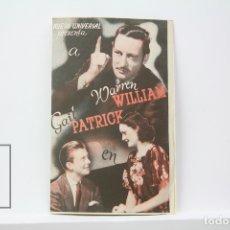 Cine: PROGRAMA DE CINE DOBLE - EL BESO REVELADOR / WARREN WILLIAM - PUBLICIDAD - UNIVERSAL - AÑO 1940. Lote 150077573