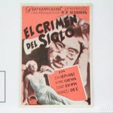 Cine: PROGRAMA DE CINE DOBLE - EL CRIMEN DEL SIGLO / JEAN HERSHOLT, WYNNE GIBSON - PUBLICIDAD - PARAMOUNT. Lote 150077705