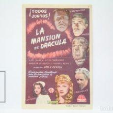Cine: PROGRAMA DE CINE SIMPLE - LA MANSION DE DRACULA / LON CHANEY, MARTHA O'DRISCOLL - SIN PUBLICIDAD. Lote 150078088