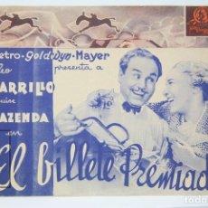 Cine: PROGRAMA DE CINE DOBLE - EL BILLETE PREMIADO / LEO CARRILLO - METRO GOLDWYN MAYER - PUBLICIDAD. Lote 150078366