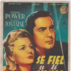 Flyers Publicitaires de films Anciens: PROGRAMA DE CINE - SE FIEL A TÍ MISMO - TYRONE POWER, JOAN FONTAINE - DORSO EN BLANCO. Lote 150118950