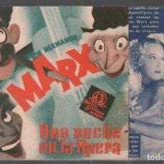 Cine: UNA NOCHE EN LA OPERA PROGRAMA DOBLE MGM CON PUBLICIDAD, HERMANOS MARX ALLAN JONES RF-261. Lote 150188510