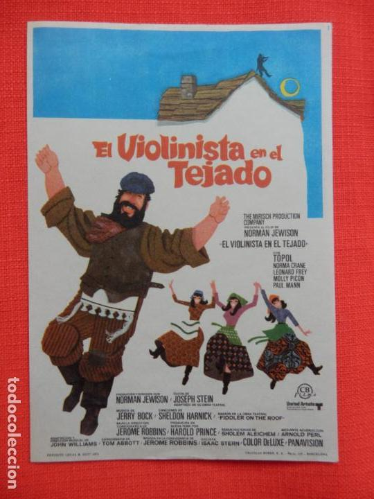 EL VIOLINISTA EN EL TEJADO, IMPECABLE SENCILLO ORIGINAL, SIN PUBLICIDAD (Cine - Folletos de Mano - Musicales)