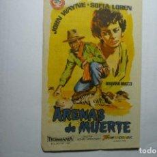 Cine: PROGRAMA ARENAS DE MUERTE -JOHN WAYNE PUBLICIDAD NUEVO-S-HIPOLITO VOLTEGRA. Lote 151165922