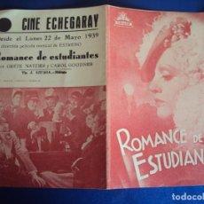 Cine: (PG-190261B) ROMANCE DE ESTUDIANTES - CINE ECHEGARAY - AÑO 1939. Lote 151210438