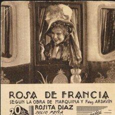 Cine: PROGRAMA DE CINE EN CARTÓN - ROSA DE FRANCIA (I) - ROSITA DÍAZ, JULIO PEÑA - 20 CENTURY FOX - 1935.. Lote 151281194