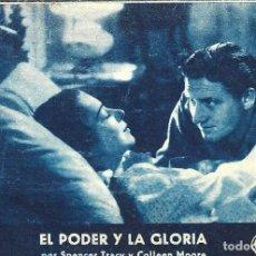 Cine: PROGRAMA DE CINE EN CARTÓN - EL PODER Y LA GLORIA - SPENCER TRACY, COLLEEN MOORE - FOX - 1933.. Lote 151291974