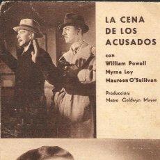 Cine: PROGRAMA DE CINE EN CARTÓN - LA CENA DE LOS ACUSADOS - WILLIAM POWELL, MYRNA LOY - MGM - 1935.. Lote 151292746