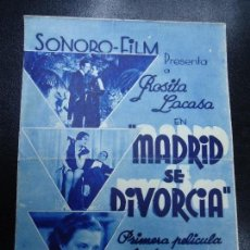 Cine: MADRID SE DIVORCIA 1935 ROSITA LACASA PRIMERA PELICULA PARLANT Y SONORA EN ESPAÑOL FILMADA EN MADRID. Lote 151310798