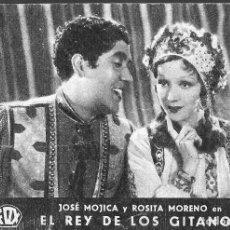 Cine: PROGRAMA DE CINE EN CARTÓN - EL REY DE LOS GITANOS - JOSÉ MOJICA, ROSITA MORENO - FOX - 1933.. Lote 151412678