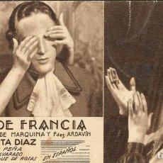 Cine: PROGRAMA DE CINE EN CARTÓN - ROSA DE FRANCIA (IV) - ROSITA DÍAZ, JULIO PEÑA - 20 CENTURY FOX - 1935.. Lote 151415698