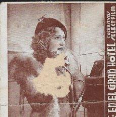 Cine: PROGRAMA DE CINE EN CARTÓN - UNA NOCHE EN EL GRAN HOTEL - MARTA EGGERTH - SELECT FILM - 1931.. Lote 151420186