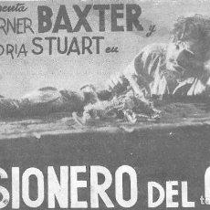 Cine: PROGRAMA DE CINE EN CARTÓN - PRISIONERO DEL ODIO - WARNER BAXTER Y GLORIA STUART - 20 CENTURY FOX .. Lote 151423726