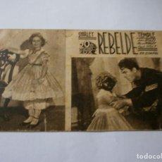 Cine: PROGRAMA DE CINE EN CARTÓN - REBELDE - SHIRLEY TEMPLE - FOX - 1935.. Lote 151496762