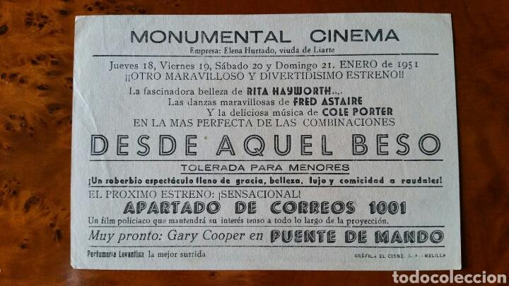 Cine: Programa de mano. Cine. DESDE AQUEL BESO. (Original) 1951. - PERFECTO. - Foto 2 - 151569992