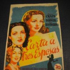 Cine: CARTA A TRES ESPOSAS - CINE GOYA , ZARAGOZA. Lote 151570714