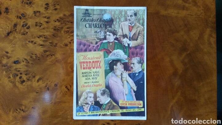 PROGRAMA DE MANO. CINE. MONSIEUR VERDOUX. (ORIGINAL) 1949 - PERFECTO. (Cine - Folletos de Mano - Comedia)