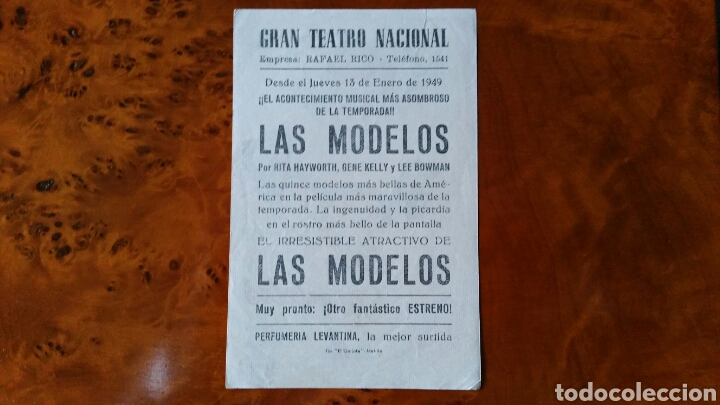 Cine: Programa de mano. Cine. LAS MODELOS (Original) 1949 - PERFECTO. - Foto 2 - 151572006
