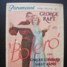 Cine: BOLERO, GEORGE RAFT, CAROLE LOMBARD. Lote 151581462