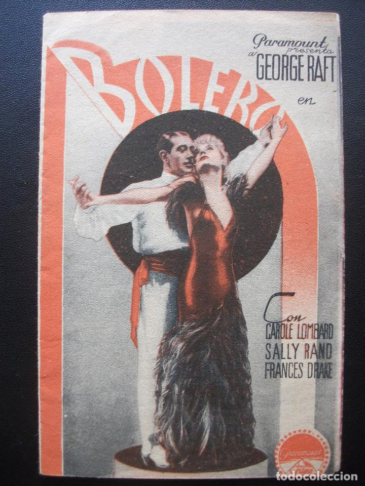 BOLERO, GEORGE RAFT, CAROLE LOMBARD (Cine - Folletos de Mano - Musicales)